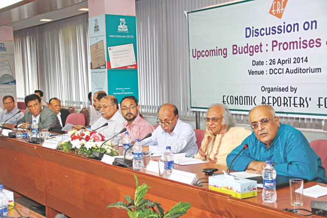 From right, Debapriya Bhattacharya, distinguished fellow of CPD; Qazi Kholiquzzaman Ahmad, an economist; AB Mirza Azizul Islam, a former caretaker government adviser; Sultan Mahmud, president of Economic Reporters' Forum; and Kazi Akram Uddin Ahmed, president of FBCCI, attend a discussion on budget yesterday.  Photo: Star