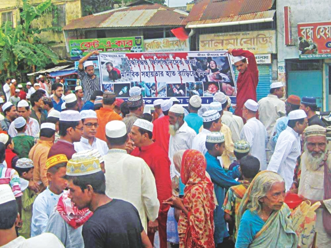 In Barisal, people gather in front of the main Edigah in Hemayetpur after the Eid congregation. Photos: Star, Banglar Chokh