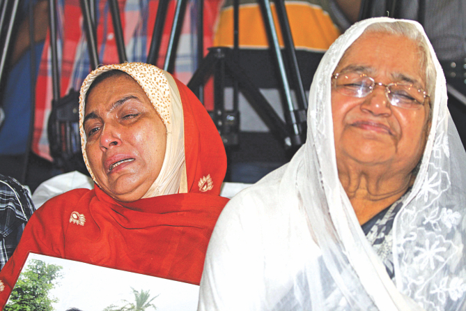 In tears the parents, of three people who were made to disappear.  Photo: Palash Khan