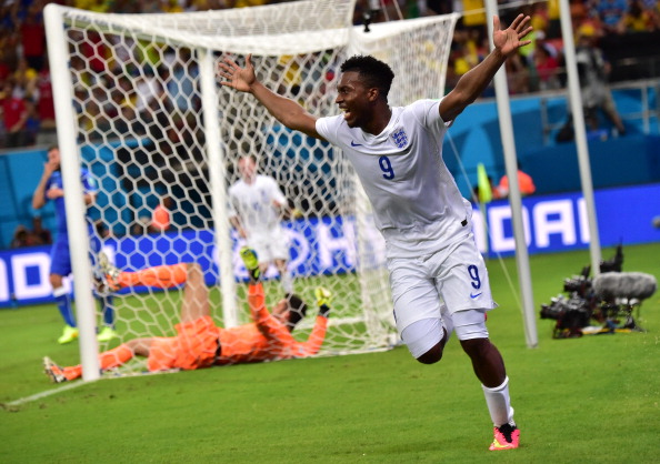 England's forward Daniel Sturridge celebrates after scoring a goal during a Group D football match between England and Italy at the Amazonia Arena in Manaus during the 2014 FIFA World Cup on June 14, 2014. Photo: AFP/Getty Images