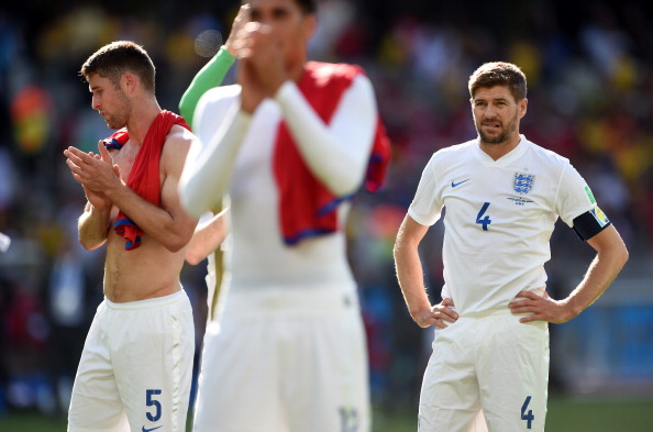 Gary Cahill (L) and Steven Gerrard of England look on after a 0-0 draw during the 2014 FIFA World Cup Brazil Group D match between Costa Rica and England at Estadio Mineirao on June 24, 2014 in Belo Horizonte, Brazil. Photo: Getty Images