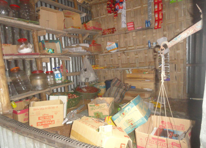 A grocery shop ransacked and looted by the gang at the village. Photo: Star