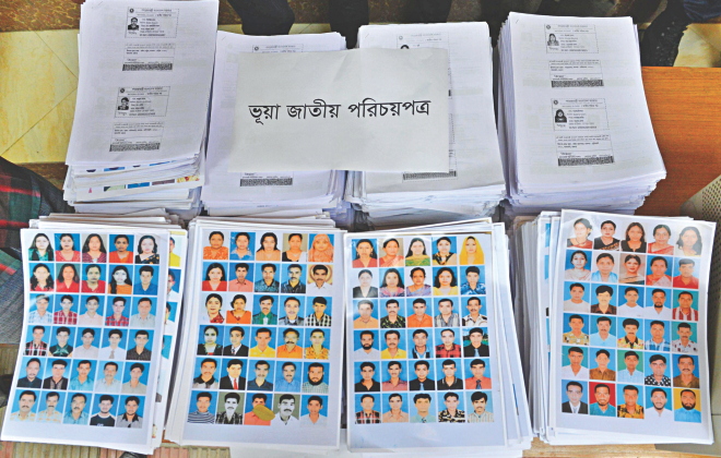 Photographs and prints of fake national ID cards that would have been cut into shape and laminated. Photo: Courtesy