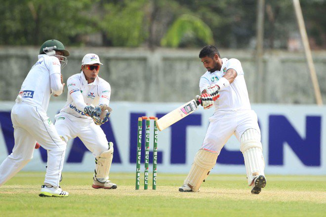 North Zone batsman Forhad Hossain cuts the ball late during his 109 against reigning Bangladesh Cricket League champions Central Zone at the BKSP yesterday. Forhad's century took his side to a strong 287 for 4. Photo: Star