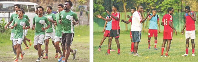 (L) Mohammedan players jog during a training session at the club's ground in Motijheel while (R) Feni Soccer Club's Gambian coach Omar K Sise conducts a training session at the Kamalapur Stadium yesterday. PHOTOS: STAR