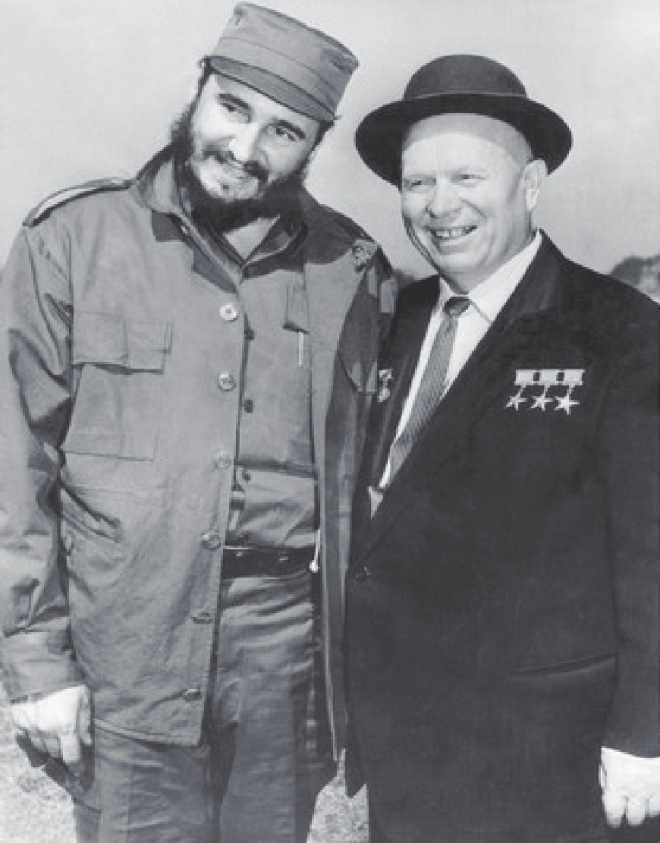 Fidel Castro with Nikita Khrushchev.