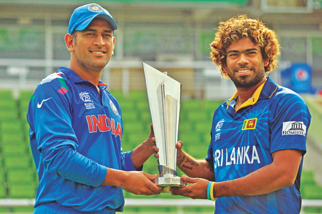 Will Malinga's (R) slingy yorkers defy the curse of the finals for Sri Lanka and lead them to their first T20 World Cup title? Or will captain Dhoni (L) add yet another feather to his cap? Come this evening, the World T20 finale shall reveal it all. PHOTO: STAR