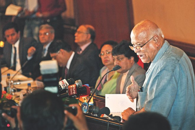 Finance Minister AMA Muhith speaks at a pre-budget consultation meeting co-organised by the NBR and FBCCI at Sonargaon Hotel in Dhaka yesterday. Photo: Star