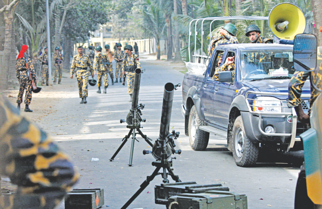 It was no ordinary day. With these mortar launchers and angry jawans on patrol, the Pilkhana BDR headquarters was virtually a combat zone in the morning of February 25, 2009. A bloody mutiny broke out on that day and ended up claiming lives of 57 army officers.  Photo: File Photo