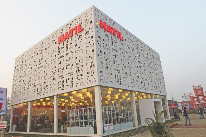 Leading furniture maker Hatil has set up a dazzling pavilion to rope in customers.   Photo: Star