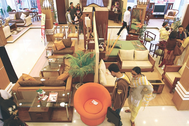 Visitors check out furniture at Partex Pavilion at Dhaka International Trade Fair in the city.  Photo: Prabir Das