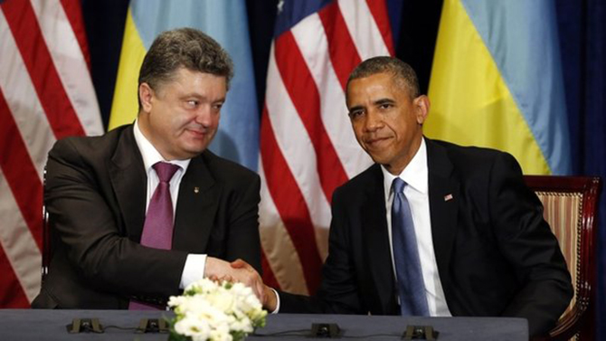 Earlier Obama met Poroshenko, and called him a