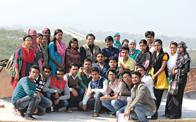 The author with first year Economics students and faculty members of University of Barisal  Photo: HM Shafiqul Islam Saikat