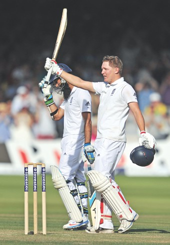 England batsman Gary Ballance celebrates his century against India on the second day of the second Test at Lord's in London on Friday. PHOTO: AFP