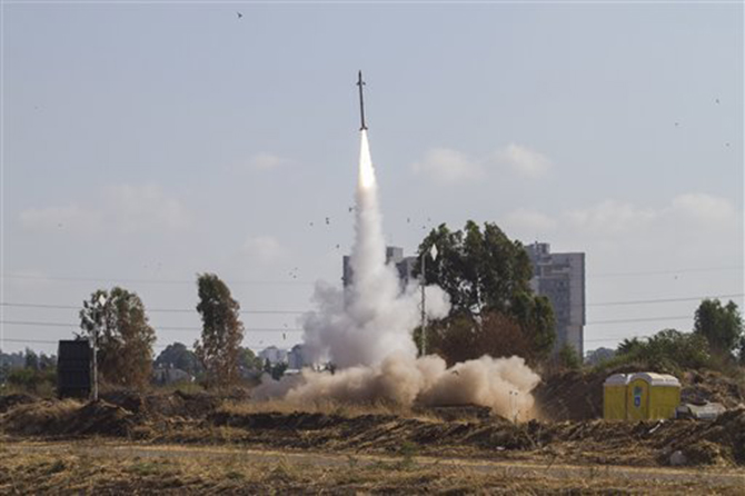 An Iron Dome air defence system fires to intercept a rocket from the Gaza Strip in Tel Aviv, Israel, Wednesday, July 9. Photo: AP
