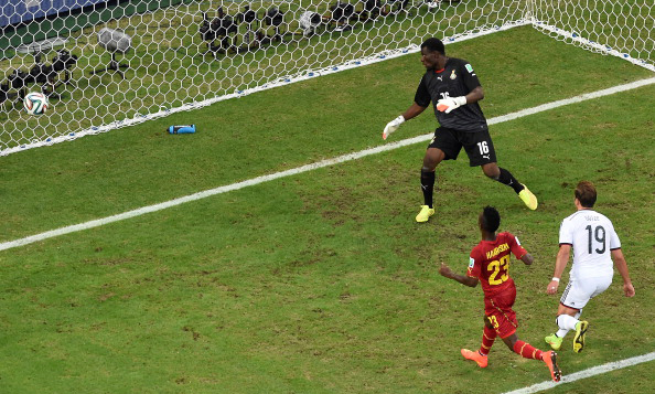 Germany's forward Mario Goetze (R) scores during a Group G football match between Germany and Ghana at the Castelao Stadium in Fortaleza during the 2014 FIFA World Cup on June 22, 2014. Photo: Getty Images