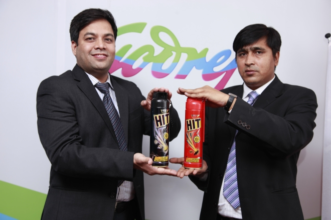Officials of Godrej pose with HIT, an insect killer aerosol, at a launching ceremony in Dhaka recently. Photo: Godrej