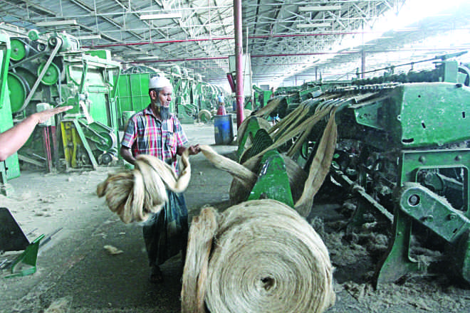 Along with the farmer the jute industry  too is riding a parallel storm.  Photo: Prabir Das