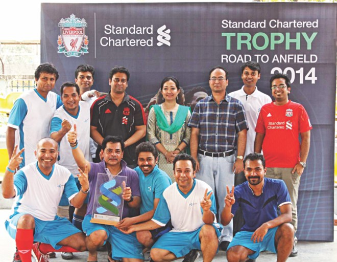It was on March 22 when Grameenphone players won the SC Trophy 2014 qualifying round at the Handball Stadium and earned the exclusive right to play at Anfied.   Photo: Star File