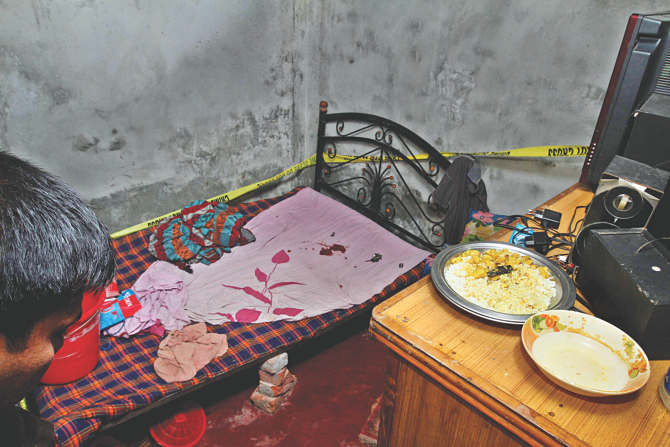 The small room in Sonalibagh in the capital where three people were shot dead when they were having dinner last night. Photo: Anisur Rahman