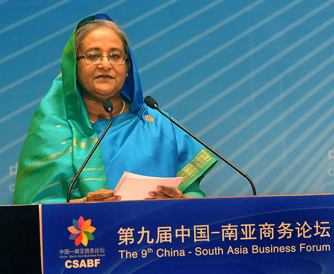 Prime Minister Sheikh Hasina speaks at the ninth China-South Asia Business Forum held at a conference centre in Kunming, China on Saturday. Photo:  PID