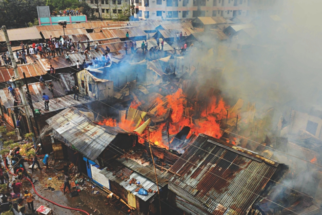 Fire broke out at a slum in Mirpur-2 of the capital yesterday afternoon. Photo: Amran Hossain/Courtesy