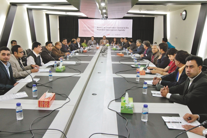 "Analysts attend a roundtable on ""Access to Information Central to the Post 2015 Development Agenda"" at The Daily Star Centre yesterday. Photo: Star"