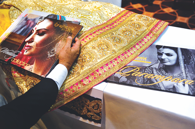An embroidered piece of clothing is on display at a stall at an exhibition organised by the Synthetic and Rayon Textiles Export Promotion Council of India and the Indian High Commission at Sonargaon Hotel in Dhaka. Photo: Star