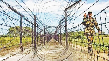 This file photo shows a BSF man patrolling the border area.