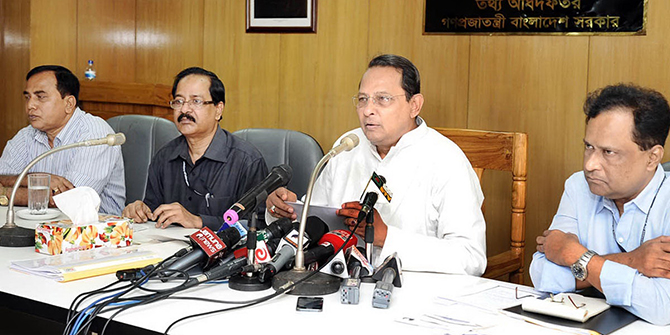 Information minister Hasanul Haq Inu briefs journalists at his office in Dhaka on Monday. Photo: Banglar Chokh