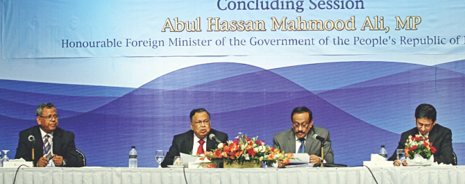 Second from left, Foreign Minister AH Mahmood Ali speaks at the closing session of a two-day international workshop on blue economy, at Sonargaon Hotel in Dhaka yesterday. Photo: Banglar Chokh