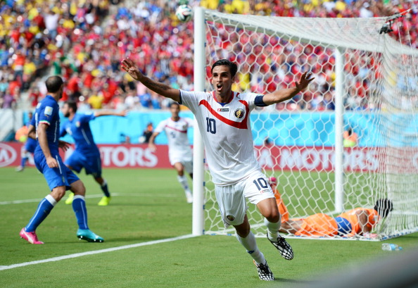 Bryan Ruiz of Costa Rica celebrates scoring his team's first goal during the 2014 FIFA World Cup Brazil Group D match between Italy and Costa Rica at Arena Pernambuco on June 20, 2014 in Recife, Brazil. Photo: Getty Images