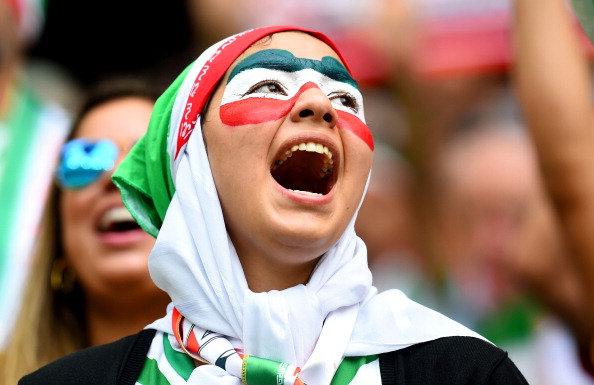 An Iran fan cheers during the 2014 FIFA World Cup Brazil Group F match between Bosnia and Herzegovina and Iran at Arena Fonte Nova on June 25, 2014 in Salvador, Brazil. Photo: Getty Images