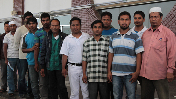 In this April 17 photo shows the 12 migrant workers, who landed at Shahjalal International Airport after their return from Iran. They had been abducted in Iran and held hostage there for months. Photo: Star
