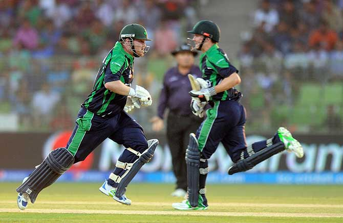 Paul Stirling and William Porterfield put 80 runs in Irish Innings against Zimbabwe in Sylhet World T20 match today. Photo: ICC