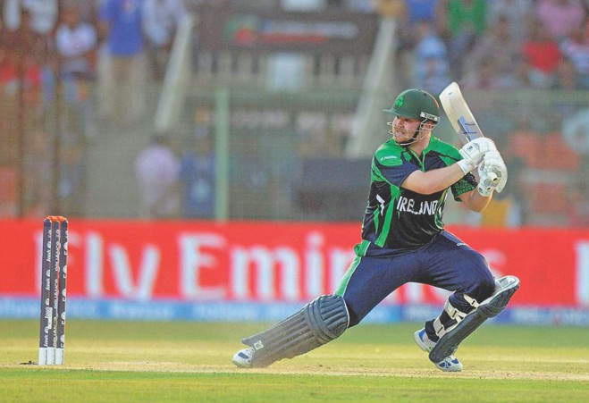 Ireland opener Paul Stirling follows through on a square-cut on way to hammering a 34-ball 60 against Zimbabwe in their ICC World Twenty20 match at the Sylhet Cricket Stadium yesterday. PHOTO: INTERNET