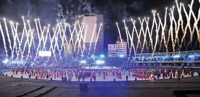 The grand opening ceremony of 2011 ICC Cricket World Cup took place in Dhaka. Photo: Firoz Ahmed
