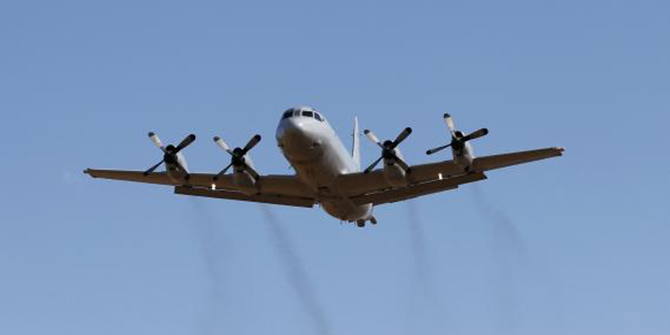 A Royal Australian Air Force P-3 Orion aircraft takes off from RAAF Base Pearce north of Perth March 21. Photo: Reuters