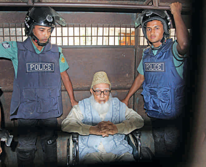 Professor Ghulam Azam, the lynchpin of Jamaat, during  the liberation war was tried by the tribunal and given life  imprisonment.. Photo: Palash Khan