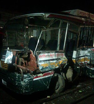 3 killed as train hits bus in Dhaka