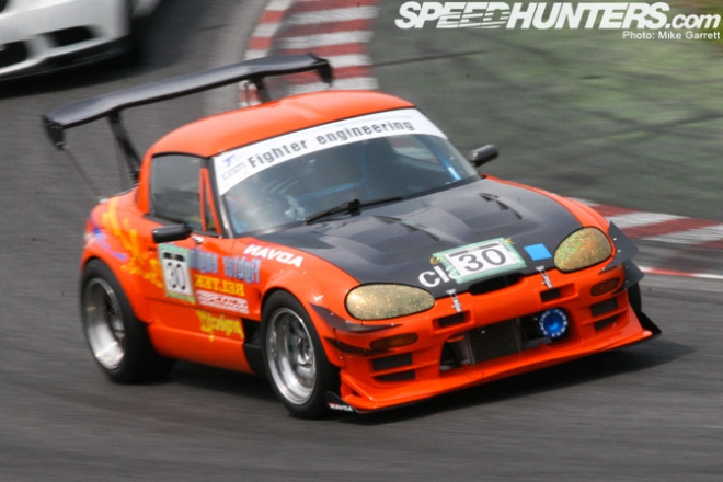 Kei-car race car. Say that fast, several times.  The Suzuki Cappuccino in action