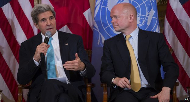 John Kerry, left, and William Hague discussed support for Ukraine's new leaders