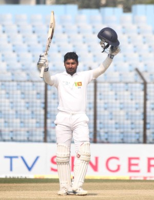 Kumar Sangakkara holds an impressive record against Bangladesh. The champion Sri Lankan left-hander on Wednesday took it to a dizzy height against the Tigers at Chittagong where he scored a magnificent 319, his first triple hundred in Tests. Photo: Anurup Kanti Das