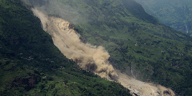 A landslide is seen in Sindhupalchowk district August 2. Photo: Reuters