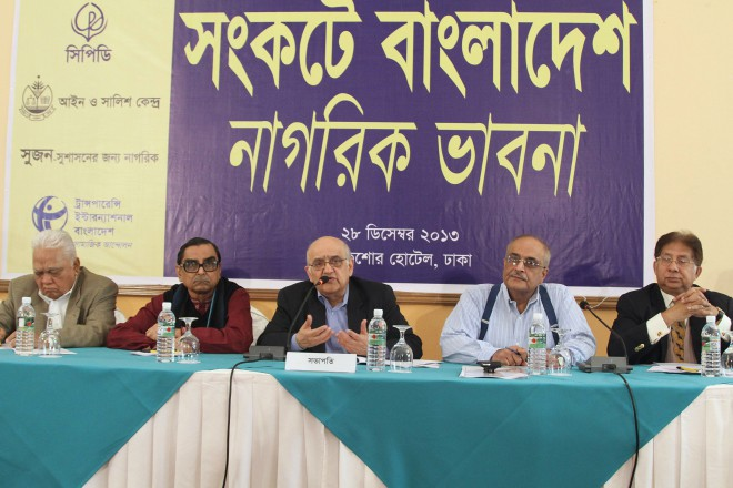 """From right, BNP Vice-Chairman Shamsher M Chowdhury, Centre for Policy Dialogue (CPD) fellow Dr Debapriya Bhattacharya and Chairman Prof Rehman Sobhan, Workers Party of Bangladesh President Rashed Khan Menon and former adviser to a caretaker government Manzur Elahi at a discussion, """"Bangladesh in Crisis"""", organised by CPD, Ain o Salish Kendra, Shushashoner Jannoy Nagorik (SHUJAN) and Transparency International Bangladesh at Lakeshore Hotel in the capital's Gulshan yesterday. They called for a postponement of the January 5 general election, which has been boycotted by the main oppsoition BNP. Photo: Amran Hossain"""