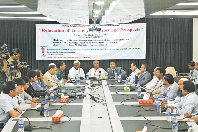 Industries Minister Amir Hossain Amu attends a roundtable -- Relocation of tanneries: progress and prospect -- at The Daily Star Centre in Dhaka yesterday.  Photo: Star