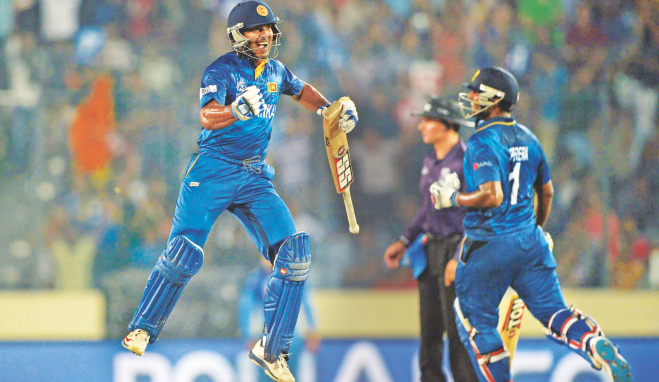 SAVED THE BEST FOR THE LAST: Kumar Sangakkara leaps into the air after leading Sri Lanka to a six-wicket win over India in the ICC World T20 final at the Sher-e-Bangla National Stadium in Mirpur yesterday. Photo: AFP