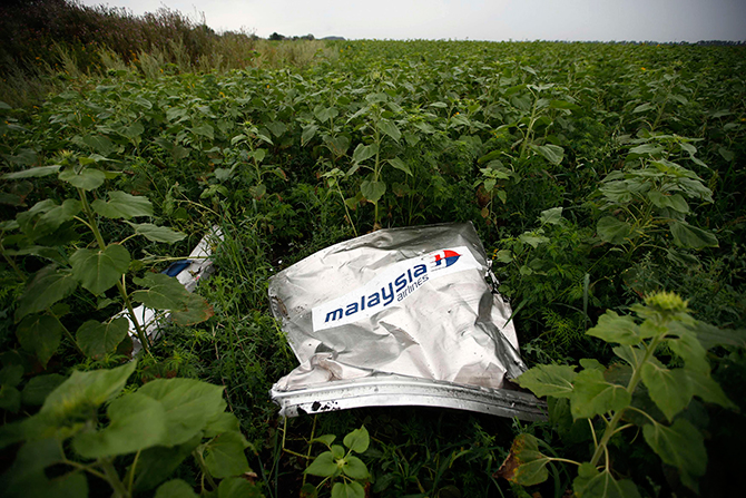 Debris from a Malaysian Airlines Boeing 777 that crashed on Thursday lies on the ground near the village of Rozsypne in the Donetsk region in this July 18, 2014 Reuters file photo.