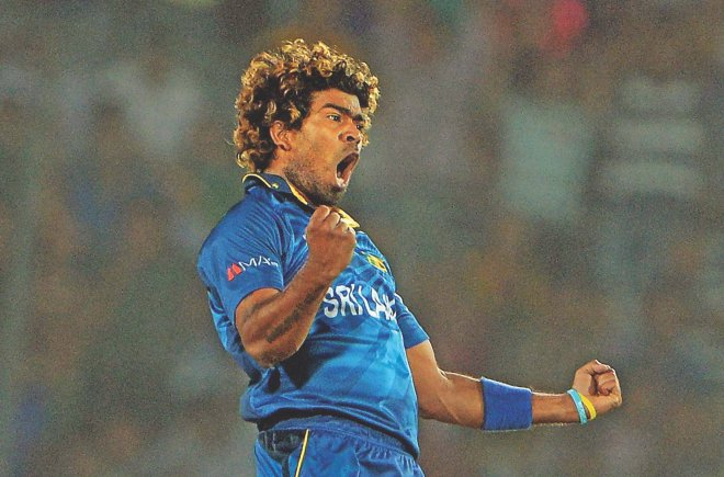 Sri Lanka captain and ace fast bowler Lasith Malinga takes his second wicket, the crucial one of opener Dwayne Smith, to set the West Indies on the path to defeat in the first semifinal of the ICC World Twenty20 at the Sher-e-Bangla National Stadium yesterday.  PHOTO: AFP