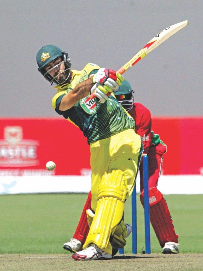 Australia's Glenn Maxwell ran riot with a 46-ball 93 against Zimbabwe in the opening match of one-day international tri-series at the Harare Sports Club on Monday. PHOTO: AFP